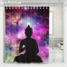 Galaxy Shower Curtain Chakra Buddha 3D Waterproof Polyester Fabric Bath Washable Curtains With Hooks