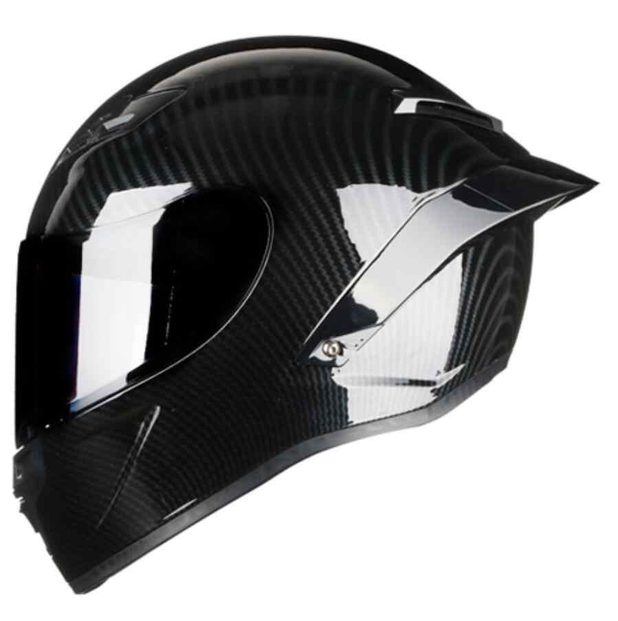 Tam yüz karbon Fiber motosiklet yarış kask nokta motokros kapalı yol güvenliği Motocross Off Road