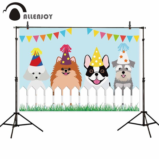 Allenjoy dogs birthday photographic backgrounds fence grass kids cartoon party decoration photocall boda photophone backdrop
