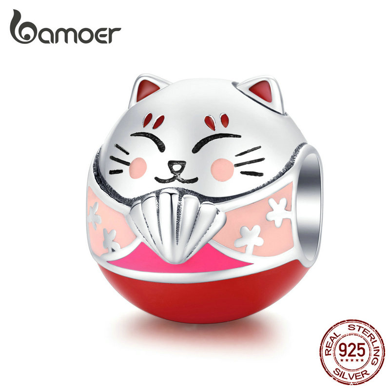 Bamoer Japan Kitty Cat Round Metal Beads For Women Charm Silver 925 Original Bracelet Bangle Enamel Funny DIY Jewelry SCC1341