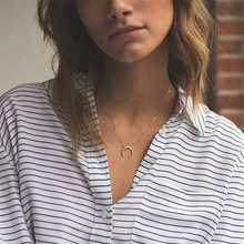 European and American Jewelry New Popular 316L Stainless Steel Necklace Creative Moon Pendant