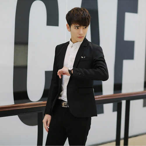 Teenager Fashion New Style Suit Korean-style Solid Color Small Suit Men's Slim Fit Leisure Suit Coat