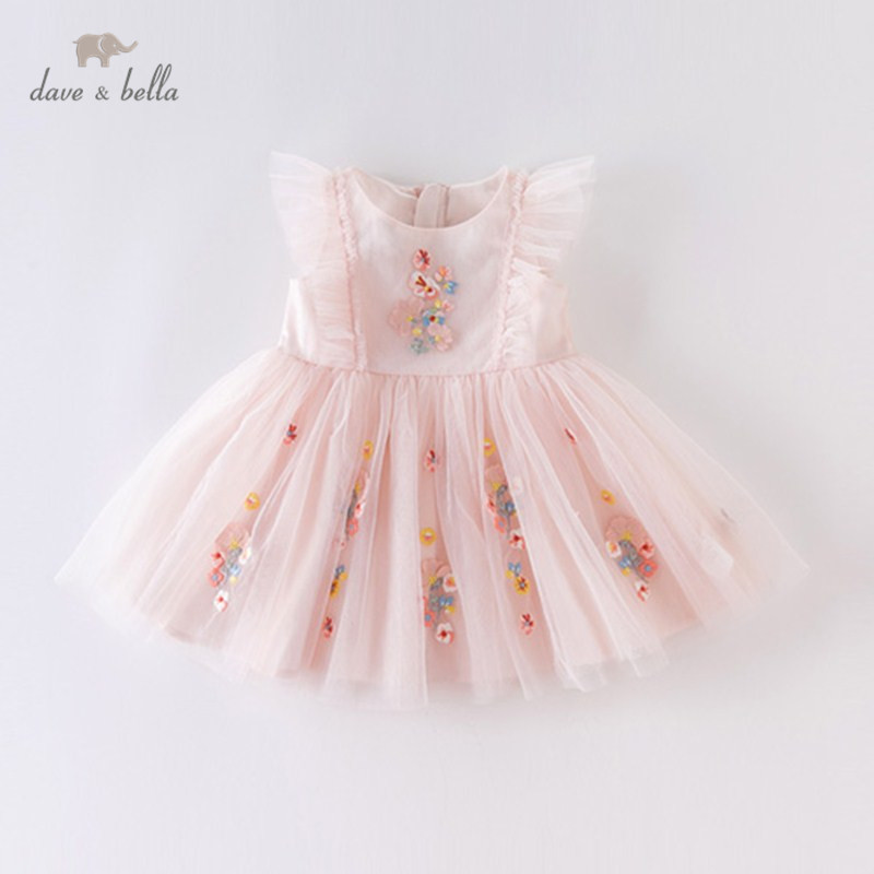 DBM14099 Dave Bella Summer Baby Girl's Princess Embroidery Floral Dress Children Fashion Party Dress Kids Infant Lolita Clothes