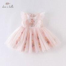 DBM14099 dave bella летнее платье принцессы с цветочной вышивкой для маленьких девочек, детские модные вечерние платья, детская одежда Лолиты