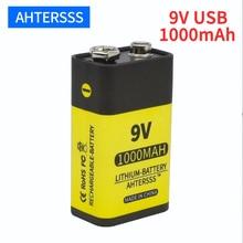 цена на 9V 6F22 rechargeable battery lithium USB 6f22 9V li ion battery 1000mAh for multimeter Smoke alarm etc batteries