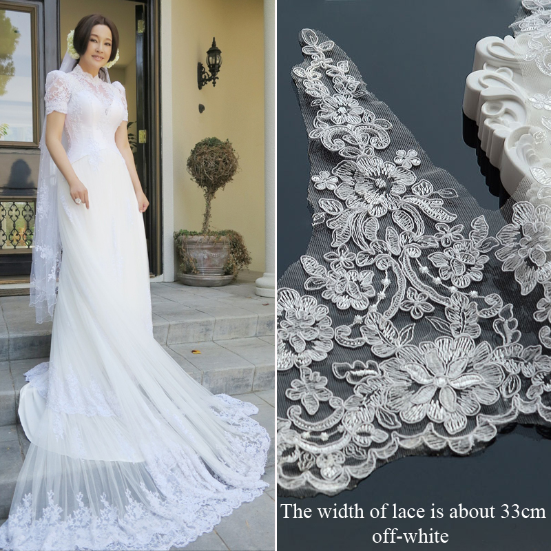 1Meter/lot 33cm Wide White Lace Trim High Quality Wedding Lace Fabric Handmade DIY Clothes Accessories Wedding Headdress Lace