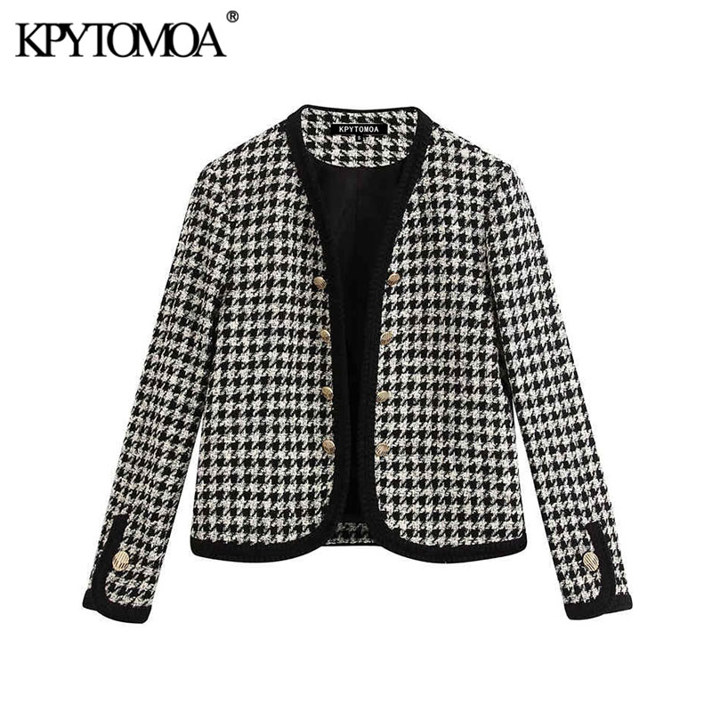 Vintage Stylish Plaid With Buttoned Cropped Tweed Jacket Coat Women 2020 Fashion V Neck Long Sleeve Female Outerwear Chic Tops