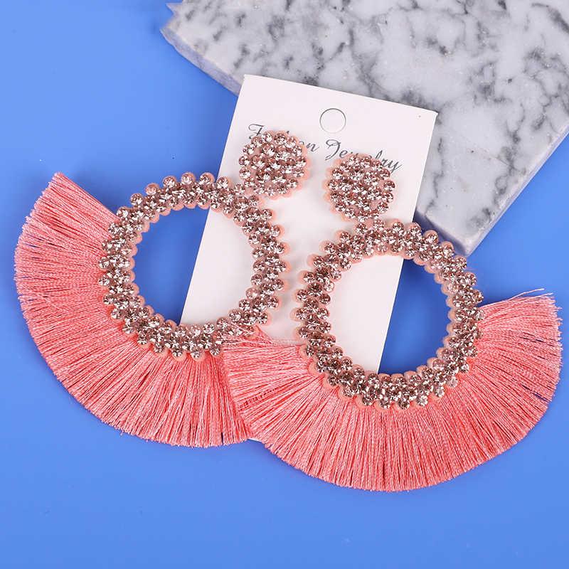Borla pendiente mujer moda 2019 nuevos accesorios de Boho hecho a mano joyería larga coreana otros gota fiesta pendiente nuevo retro redondo