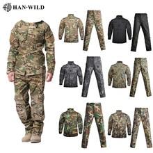 Homens do exército militar uniforme camuflagem tático terno forças especiais combate camisa casaco pant definir camuflagem militar soldado roupas