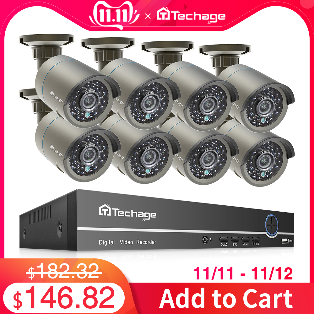 Techage H.265 8CH 1080P HDMI POE NVR Kit CCTV Security System 2MP IR Outdoor Audio Record IP Camera P2P Video Surveillance Set-in Surveillance System from Security & Protection