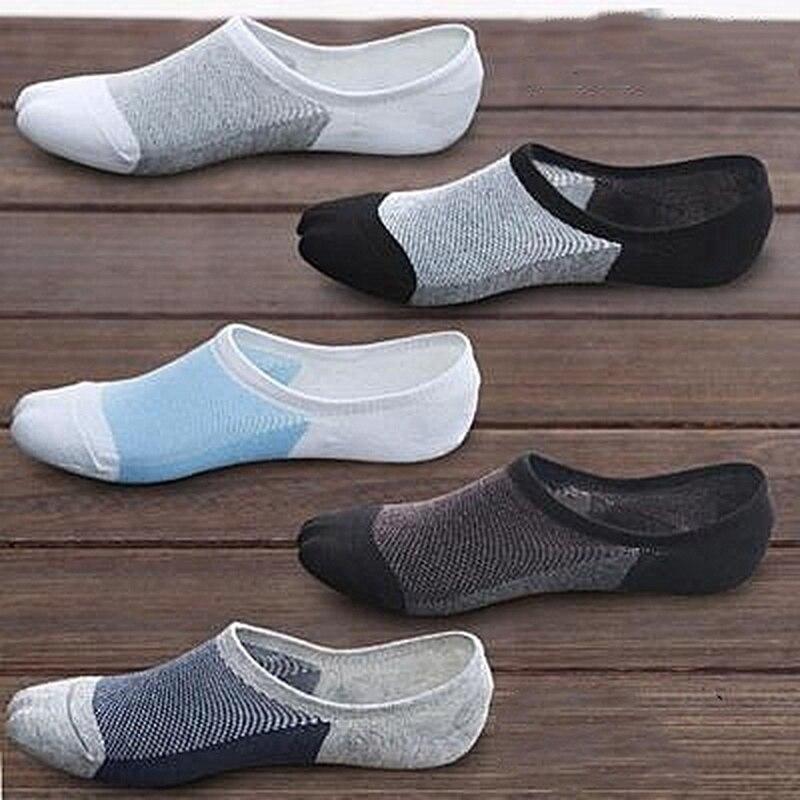 5 пар/лот, летние мужские носки без показа, тапочки, Мужские дышащие силиконовые Нескользящие короткие носки высокого качества, дышащие сетч...