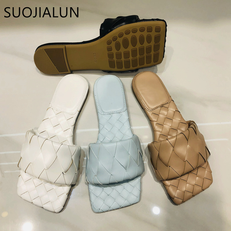 SUOJIALUN 2020 New Summer Woven Slippers Brand Design Slip On Slides Outdoor Beach  Flat Casual Flip Flops Open Toe Slide Sandal