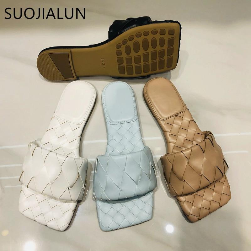 SUOJIALUN 2020 New Summer Woven Slippers Brand Design Slip On Slides Outdoor Beach  Flat Casual Flip Flops Open Toe Slide Sandal