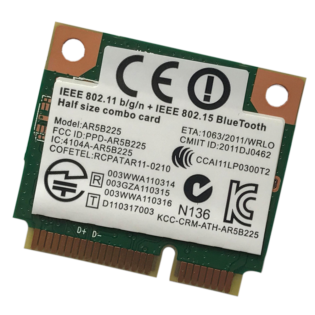 300M PCI-E AR5B225 Adapter 2.4GHz PC Small Laptop Network Card WIFI Bluetooth Accessories Half Mini Computer Wireless High Speed