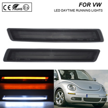 цена на A Pair LED Daytime running light (white) LED Turn Signal light(Amber) 2-in-1 function For VW Beetle 2006-2010