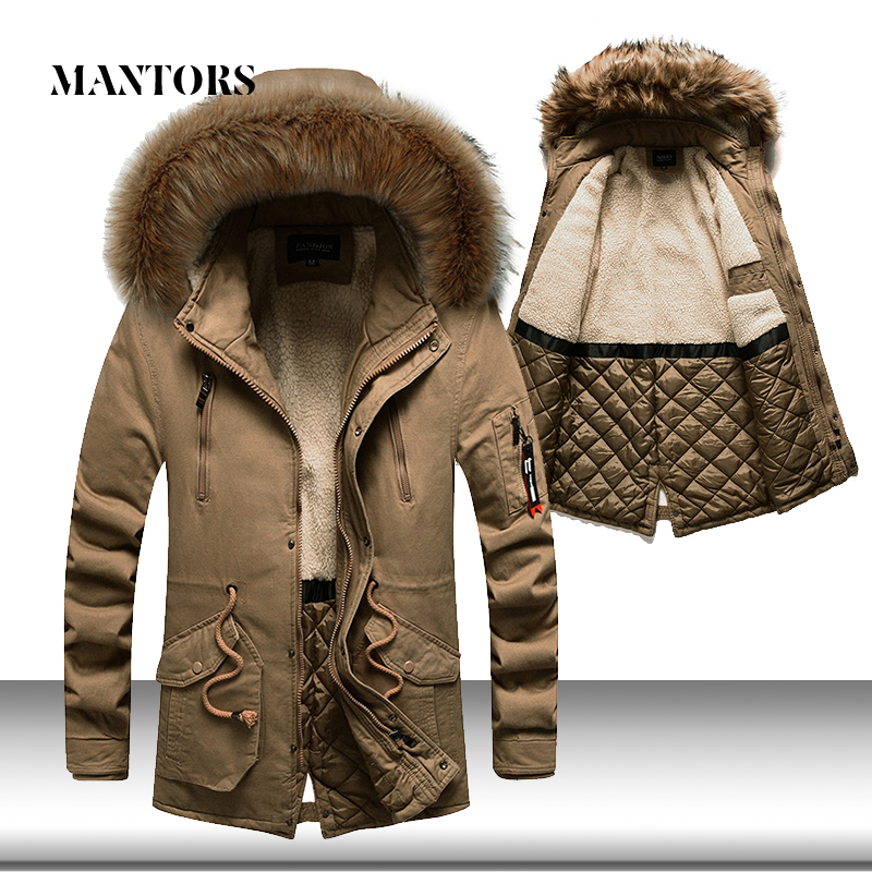 Jackets Outwear Parka-Coats Fur-Collar Hooded Thick Winter Long Mens Warm Male Casual