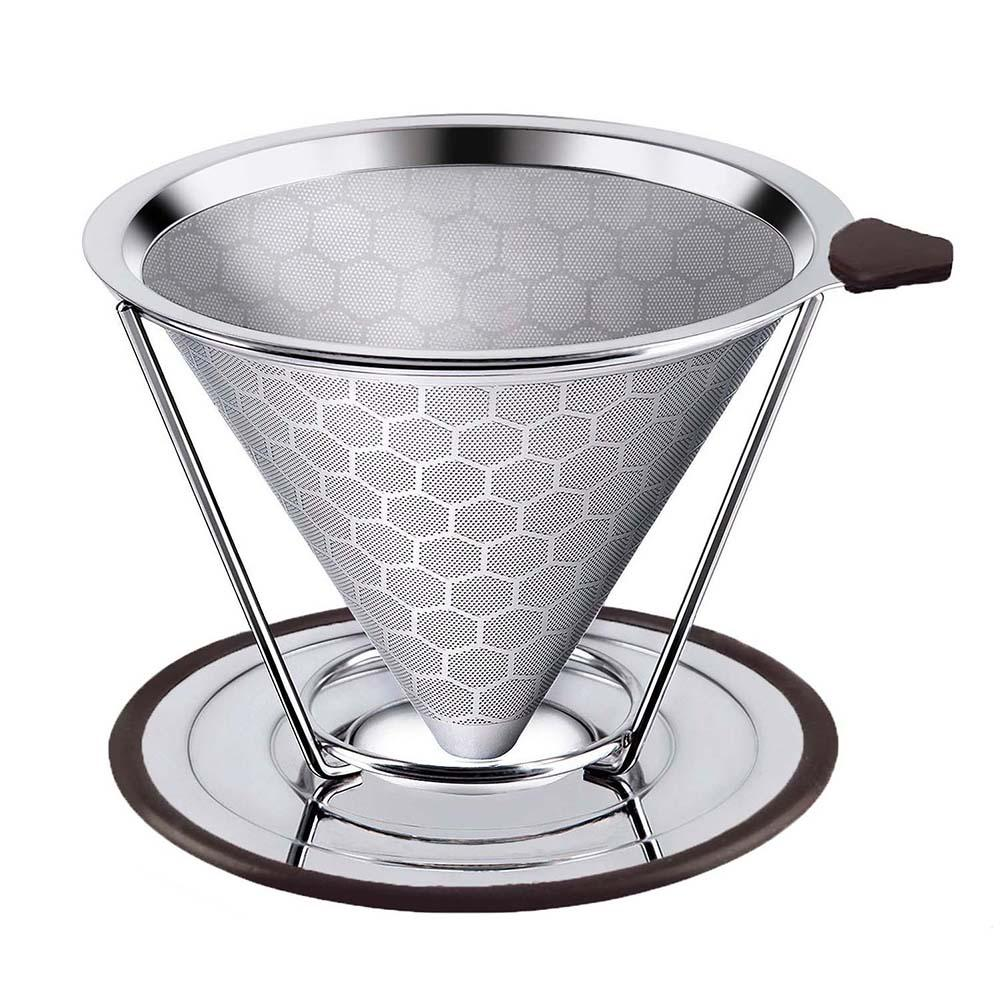 Stainless Steel Home Coffee Filter Reusable Pour Over Dripper Non-slip Strainer Funnel Shaped Durable Easy To Cleaning  Reusable