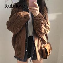 Rubilove New Autumn Knit Sweater Women 2019 Fashion Harajuku Loose Warm Cardigan College Casual Long Sleeve Winter Coat