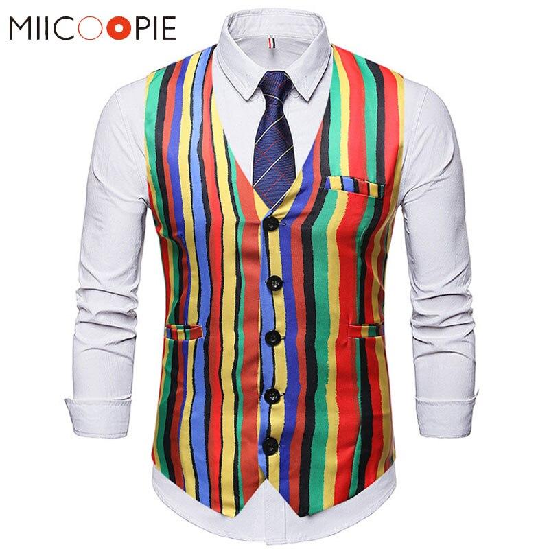 Fashion Colorful Stripe Suit Vest Men 2019 Casual V-neck Single Breasted Waist Coat For Men Business Formal Gilet Homme Costume