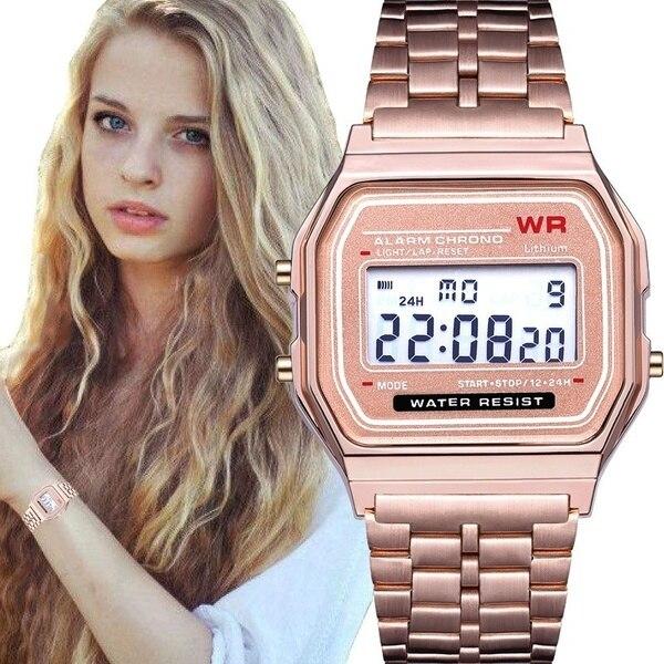 Fashion Women Female Men Quartz Watch Simple LED Digital Bussiness Watches Gold Sport Wristwatch Thanksgiving Christmas Gift *A