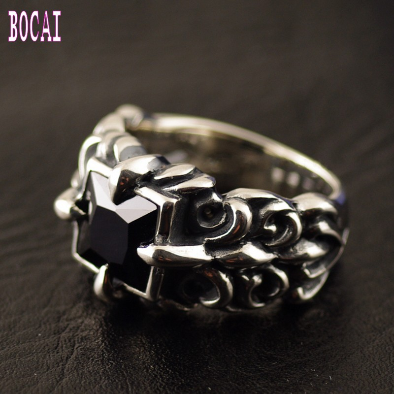 925 prata esterlina rosto quadrado âncora padrão modelos masculinos thai anel de prata anel de prata do homem
