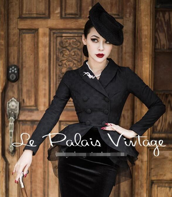 Le Palais Vintage Women Two Piece Sets Autumn Winter Coat Double Breasted Top And Shorts Velvet Bodycon Skirt Dress 2 Piece Set