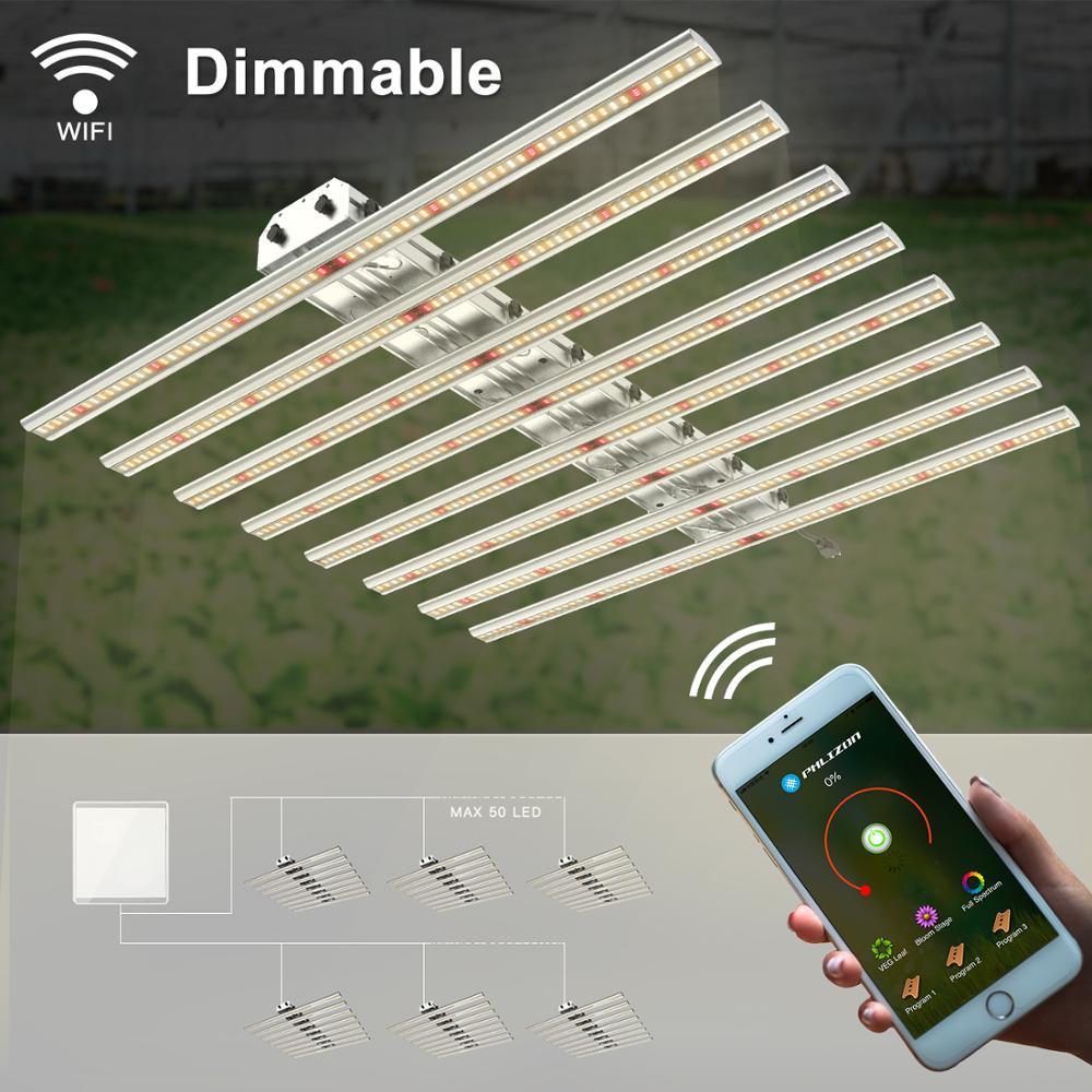 Phlizon barre lumière dimmable haute sortie PAR spectre complet 640 watts led croissance barre lumineuse réglable corde 220v wifi contrôle