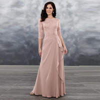 Elegant Dusty Rose Lace Mother of the Bride Dresses 2020 New Boat Neck with 3/4 Sleeves Wedding Guest Gowns