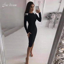 Bandage Dress Celebrity Evening-Party-Dress Vestidos Long-Sleeve Bodycon Sexy Women's