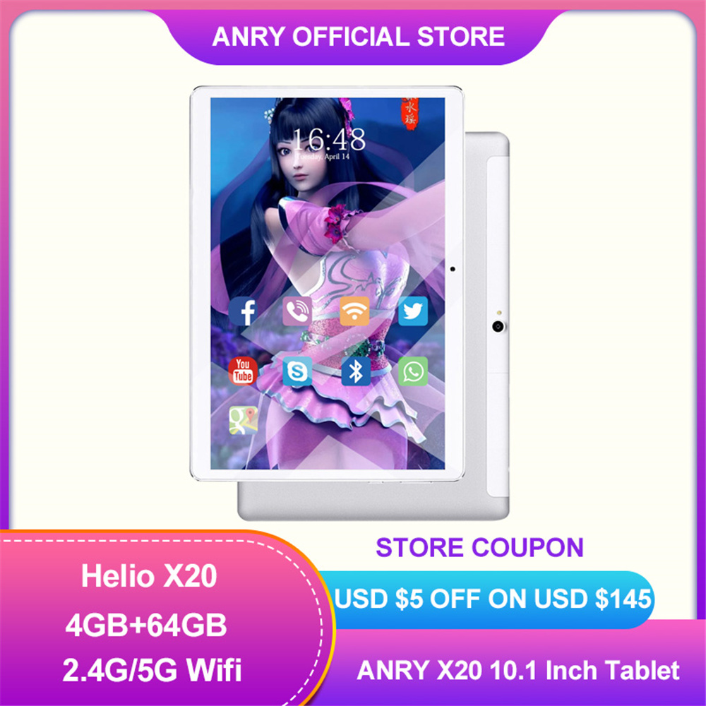 ANRY Tablet PC 4G Network Android 8.1 MTK6797T X25 8000mAh Deca Core 1920*1200 64GB ROM 4GB RAM 10.1 Inch Phablet