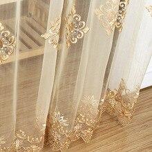 Роскошные вышитые прозрачные вуали шторы для окон Cortina для гостиной двери золотые кружевные занавески Тюль окна