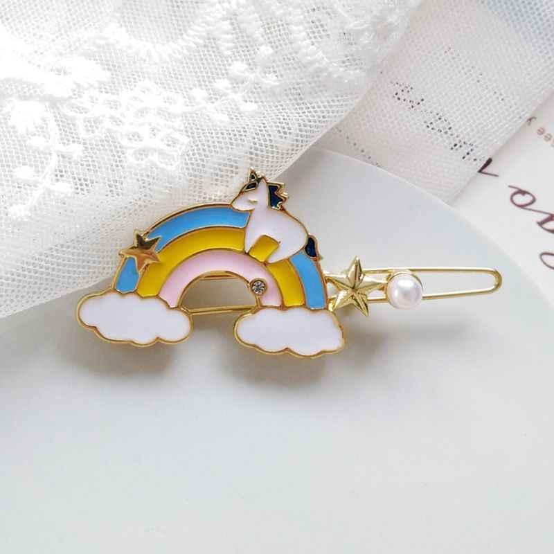 Koreański słodkie dziewczyny brokat kropla oleju Rainbow Bobby Pin kobiety Cute Cartoon koń Faux Peruka perłowa Clip cukierki kolor stylizacji Barrette