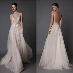 Пикантные Свадебные платья с v-образным вырезом из тюля с открытой спиной, уличное свадебное платье, Пляжное бохо, vestidos de novia, свадебное