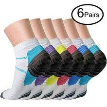 Носки для бега, для спорта, велоспорта, пилатеса, Компрессионные носки(6 пар) для женщин и мужчин, для йоги, подошвенного фасциита, поддержка свода стопы, с низким вырезом