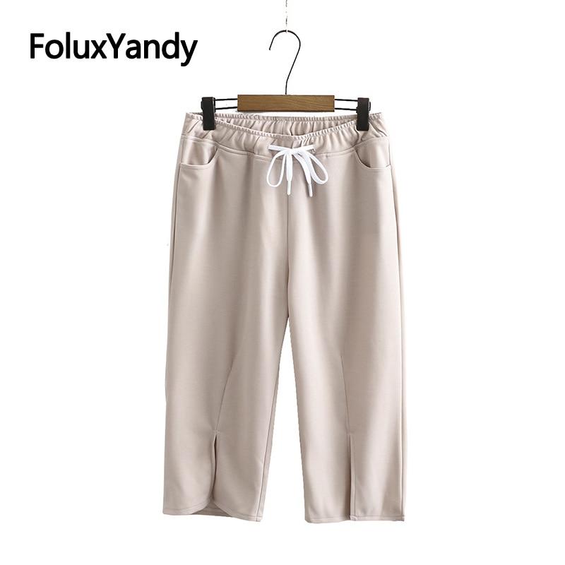 Calf-Length Pants Women Summer Trousers Plus Size XXXL 4XL Casual Elastic Waist Loose Harem Pants Capris Beige Black KKFY4742