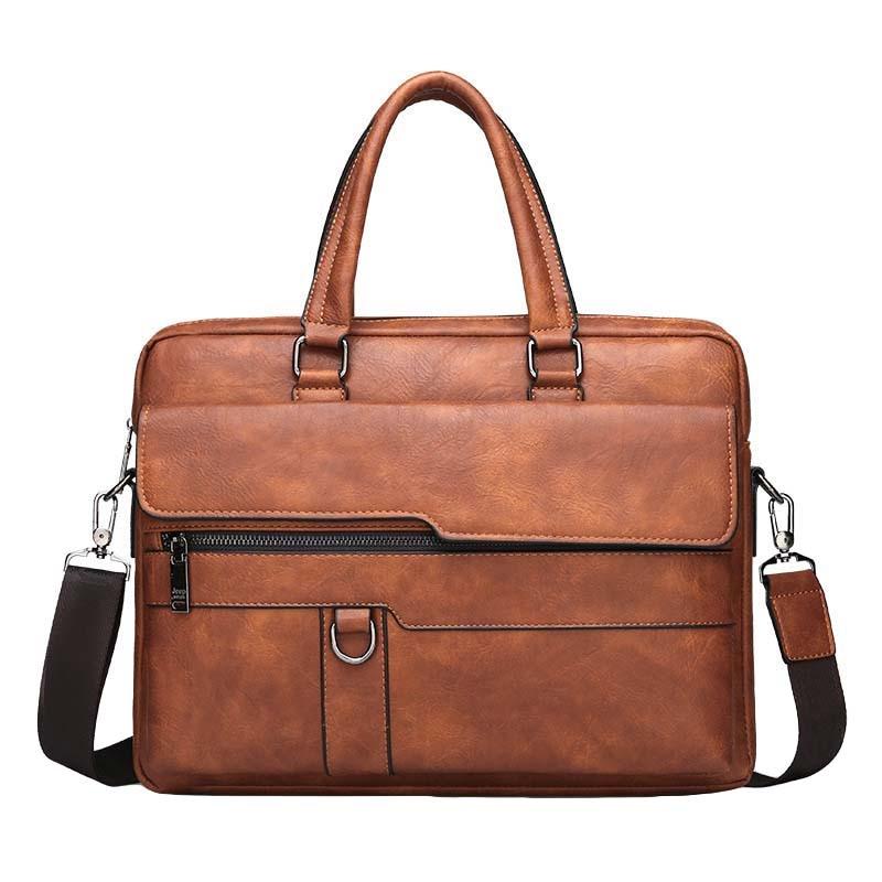 Retro Men Solid Color Bag Faux Leather Briefcase Large Capacity Tote Shoulder Bag Casual Business Laptop Briefcase