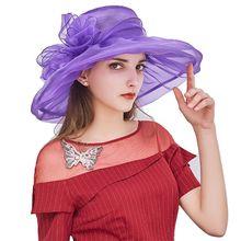 Женские церковные Дерби вуалетки двойной слой органзы Свадебные большие цветок шляпа Чай Вечерние винтажные складные с широкими полями