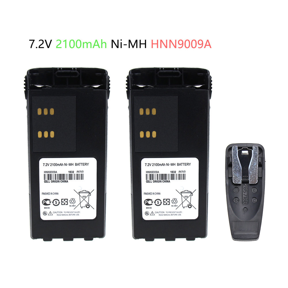 2X 2100mAh NI-MH Replacement Battery For Motorola Radio GP328 GP338 HNN9008 HNN9008A HNN9008AR HNN9008H HNN9009 HNN9012 + Clip