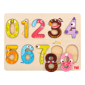 10pcs Wooden Puzzle Set Cartoon 0-10 Toy Montessori Educational Number Toys For Children