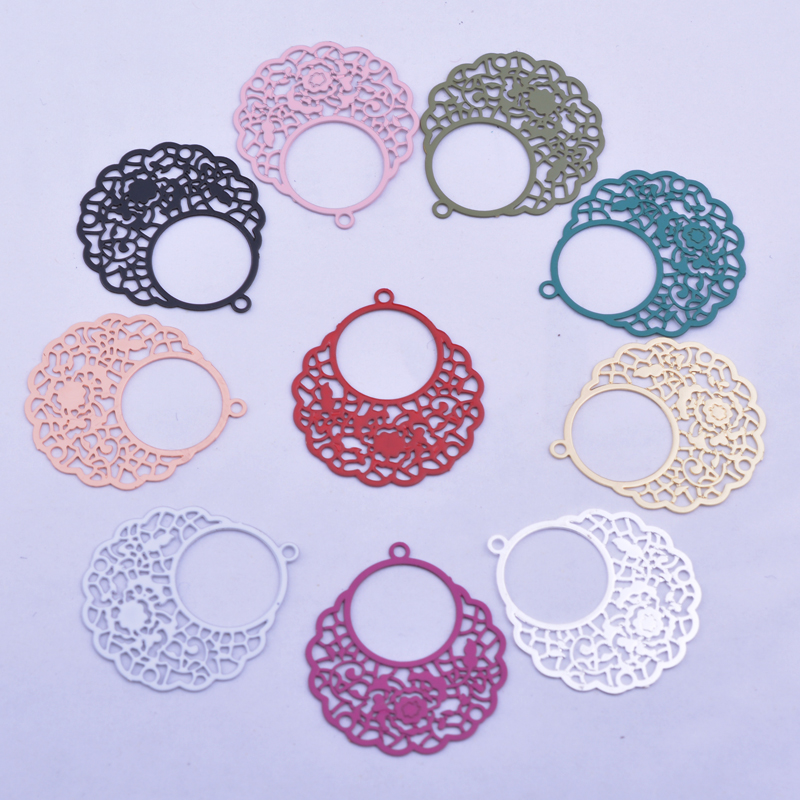 50pcs AC7642 20*22mm Brass Laser cut Thin Charms Silver Color Charm  DIY Jewelry Earring Making