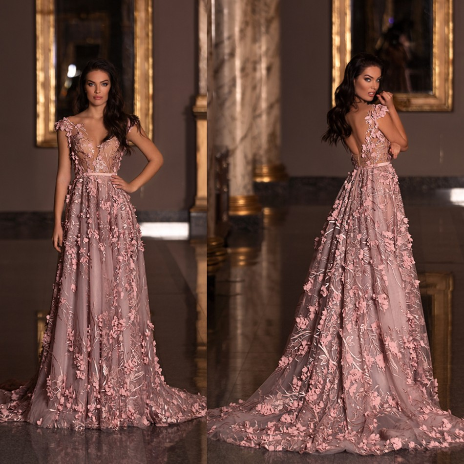 A Line Evening Dresses Zuhair Murad V Neck Bead Lace 3D Floral Appliques Fairy Prom Dress Cocktail Party Gowns Vestidos De Novia