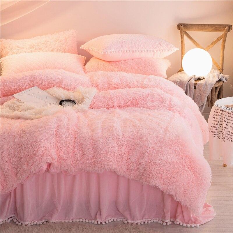 Princess Style Pink Plush Shaggy Mink Velvet Duvet Cover Set Quilted Pompoms Fringe Ruffles Bed Skirt Pillowcases Bedding Set