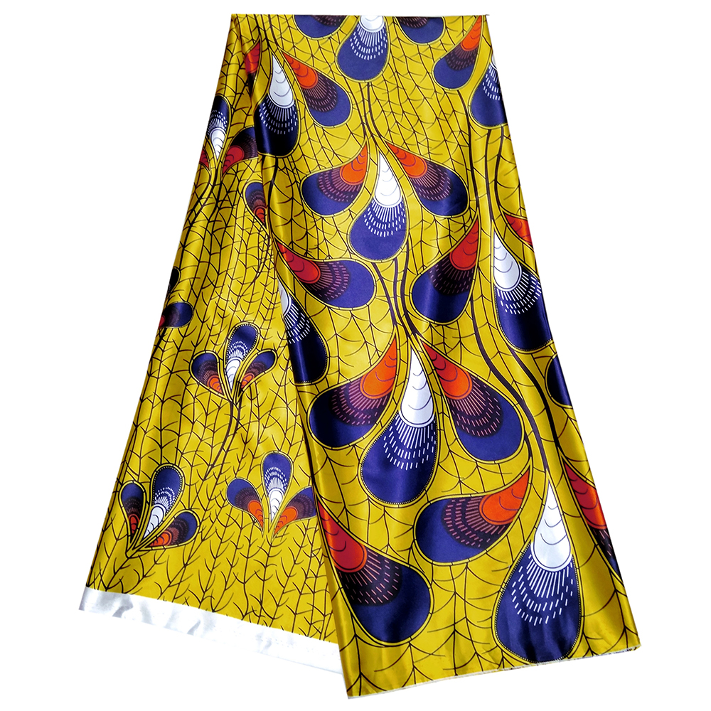 Yellow African Ankara Dutch Wax Peacock Feathers Pattern Print Fabric African Print Wax Fabric For Dress 5Yards