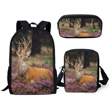 HaoYun Kids 3PCs Set Backpack Flower Deer Pattern School Bags Kawaii Animal Students Backpack/Flaps Bags/Pen