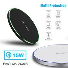 15W Qi Wireless Charger for iPhone X Xs MAX XR 8 plus Fast Charging for Samsung S8 S9 Plus Note 9 8 USB Phone Charger Pad(China)