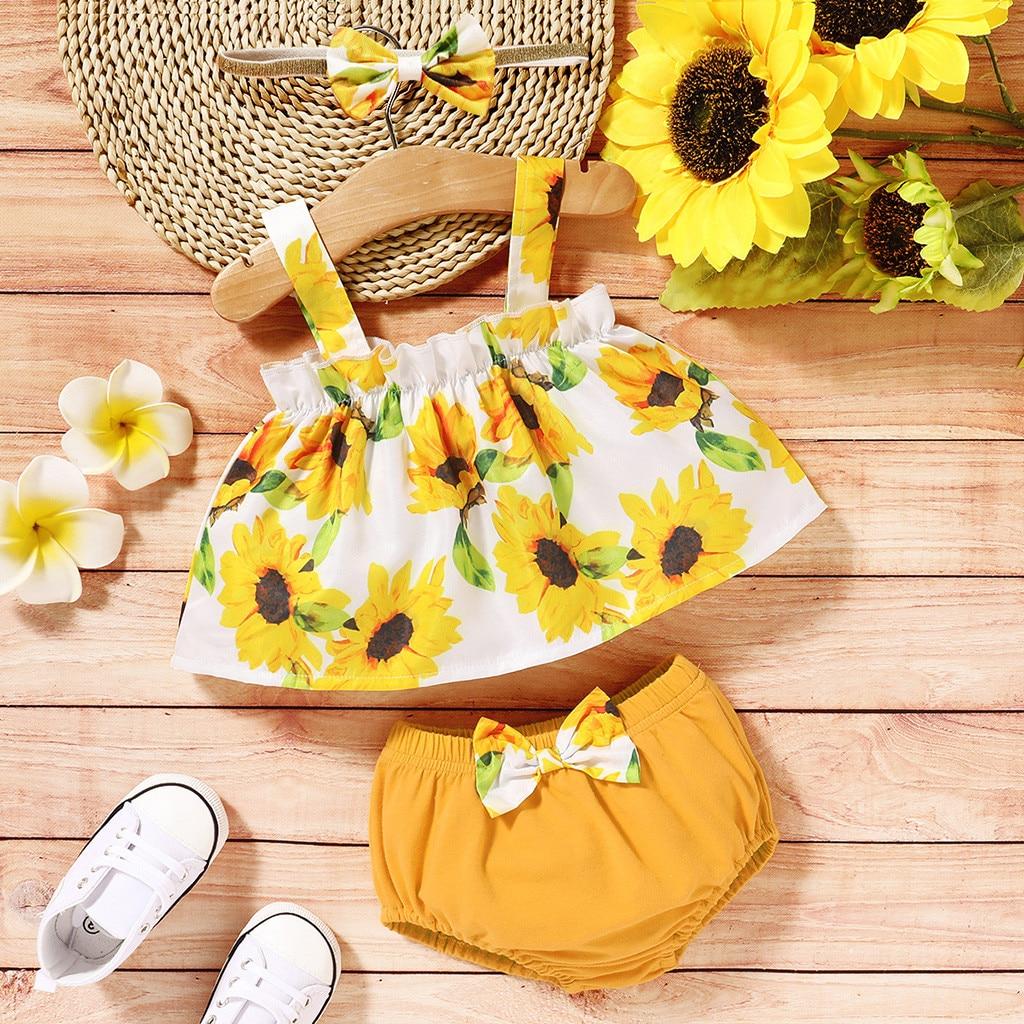 3pcs Set Bayi Bayi Gadis Tanpa Lengan Bunga Matahari Suspender Tops Warna Solid Celana Pendek Bando Pakaian Bayi Perempuan Lucu Pakaian Y2 Set Pakaian Aliexpress