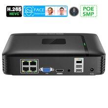 4 canales NVR PoE 5MP de vigilancia CCTV NVR 48V PoE HI3536 para H.264 H.265 cámara IP 3.5CH HDD 48V POE de Audio de 3,5mm detección de la cara