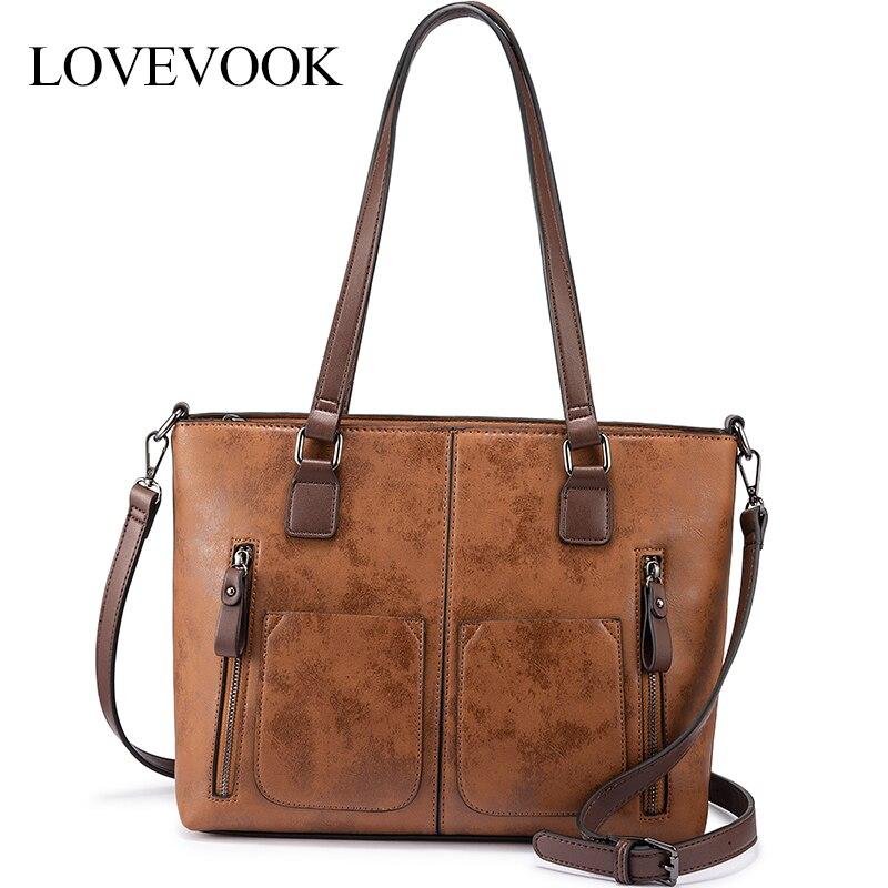 LOVEVOOK women shoulder bag Large Totes crossbody/messenger bags for ladies 2019 luxury handbags women bags designer vintage PU