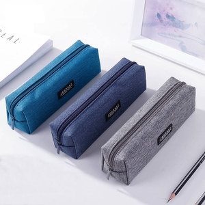 Canvas Blue Pencil Case Solid Color Stripes Simple Pencil Bags For Student New Stationery School Supplies Kids Gift