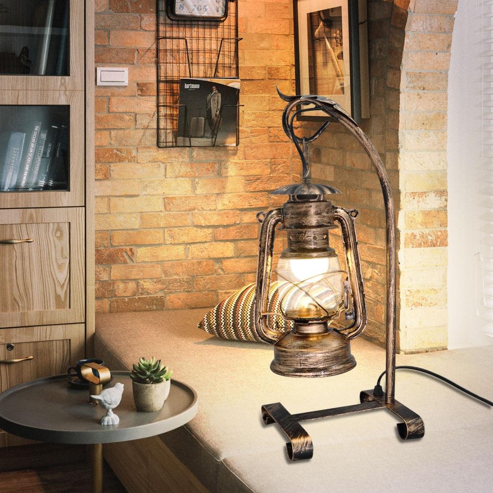 Artpad American Vintage Candle Table Light With Plug,Old Design Kerosene Lamp Table Nightstand Lighting For Bedside Study Cafe